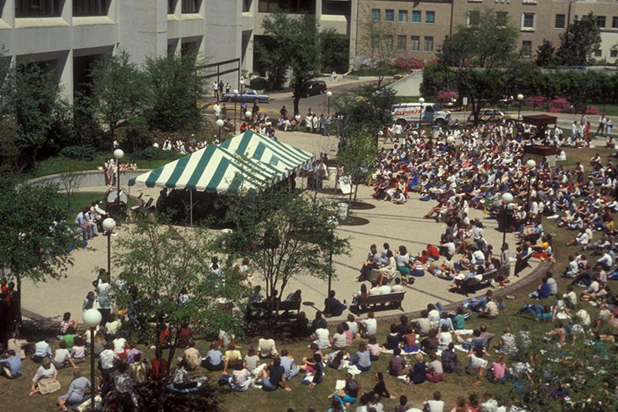 THEN - Webber plaza gathering