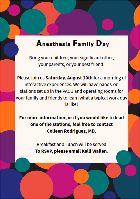 image from Anesthesiology Family Day is August 10th