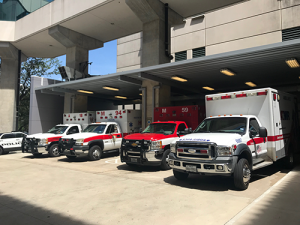 Ambulances parked outside emergency department