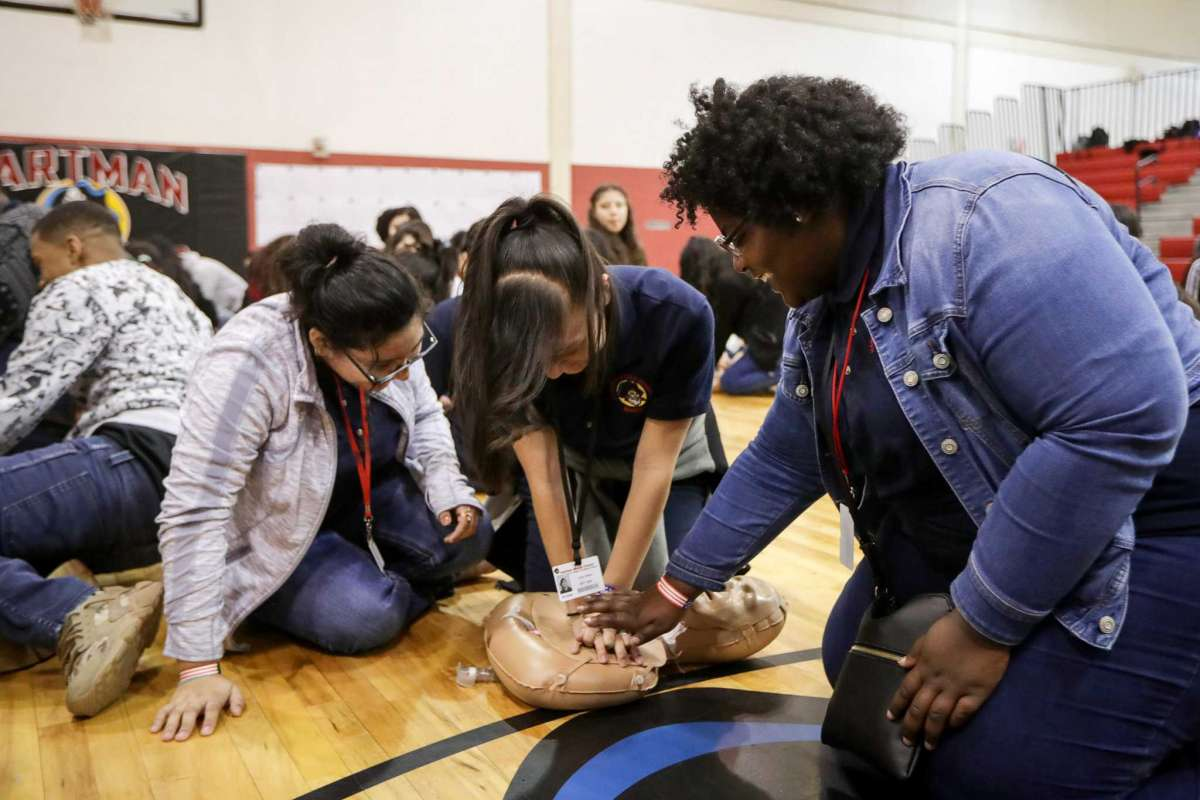 From Houston Chronicle: Children learning CPR
