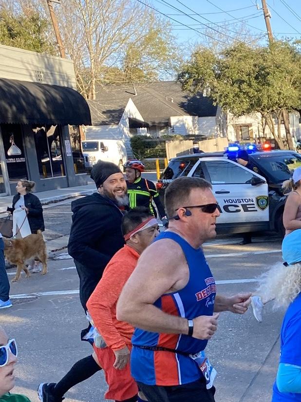 Dr. Prater (The Beard) running in the Houston Marathon
