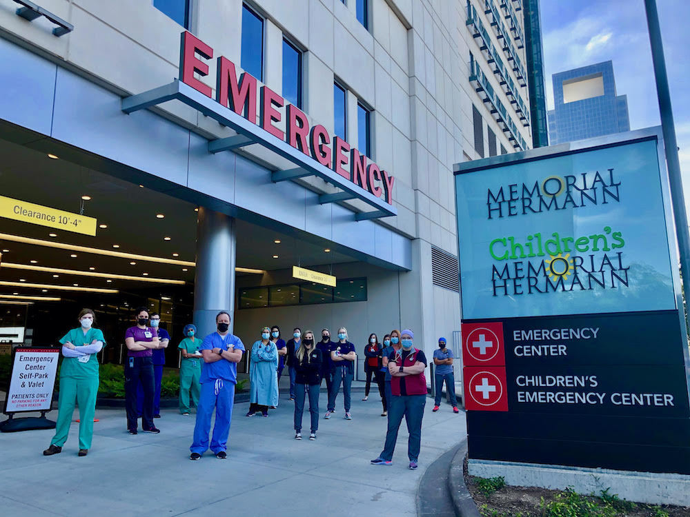 Group of physicians outside emergency department