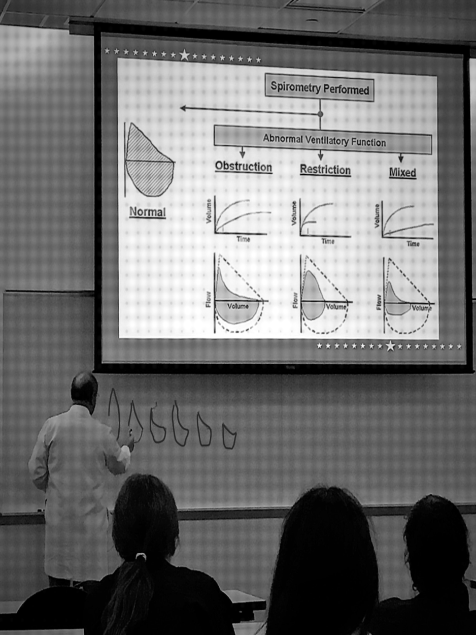 Image of Dr. Richard Castriotta teaching flow-volume loops to Pulmonary & Critical Care Fellows at McGovern Medical School at UTHealth