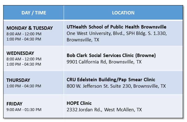 Clinic service (non-mobile) locations and hours