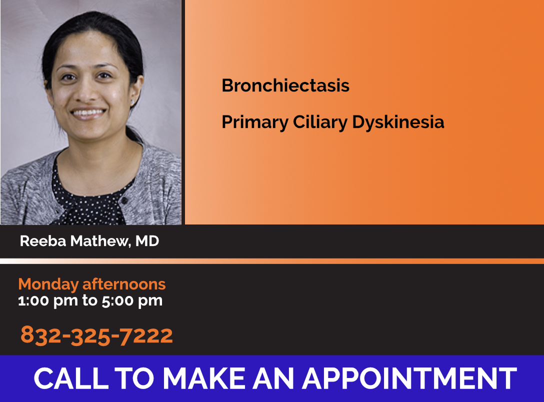 Photo of Dr. Reeba Mathew with Bronchiectasis Center Clinic Hours & Phone Number for Patients Saying Call to Make An Appointment
