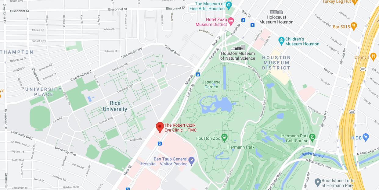 Robert Cizik Eye Center map