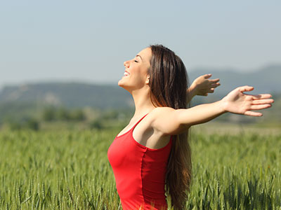 woman in a sunny field