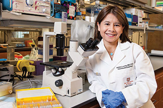 Amber Luong, MD, PhD, in research facility