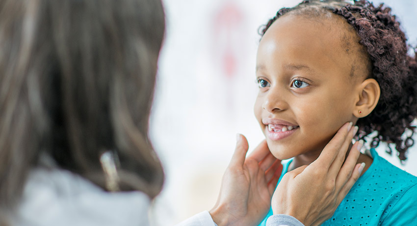 A child at a wellness check up