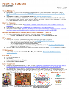 image from April 27: Pediatric Surgery Newsletter