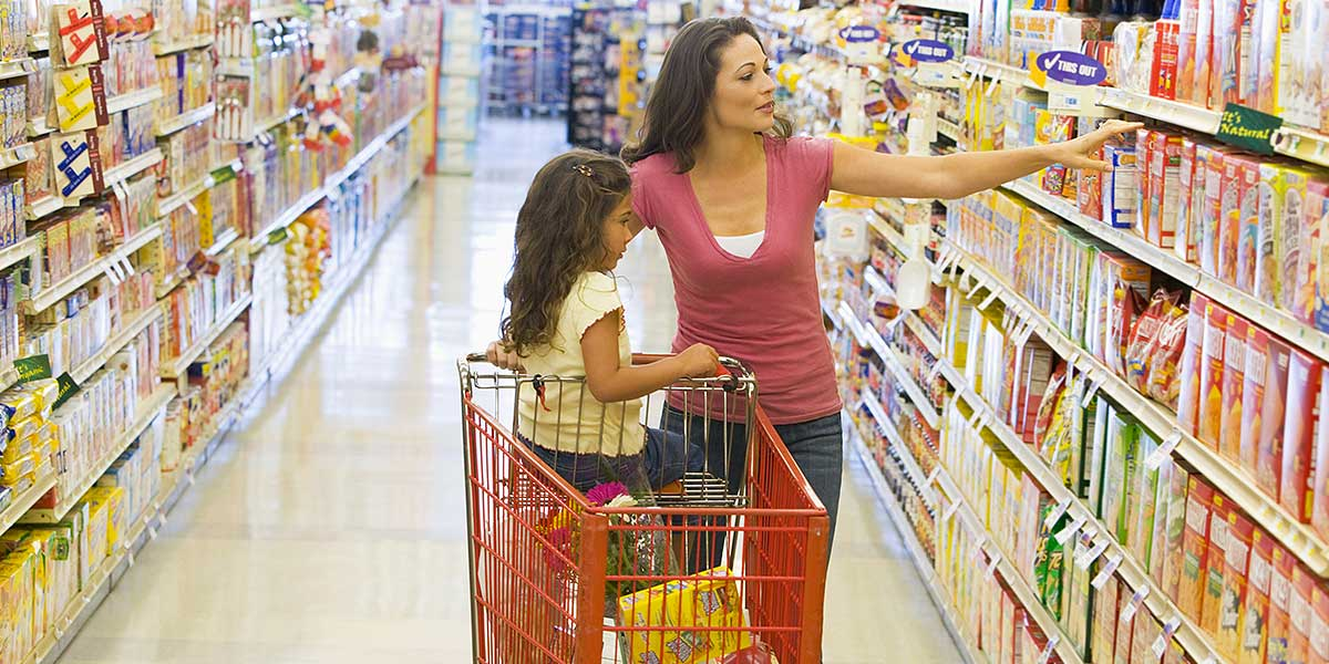 mother and child at grocery store