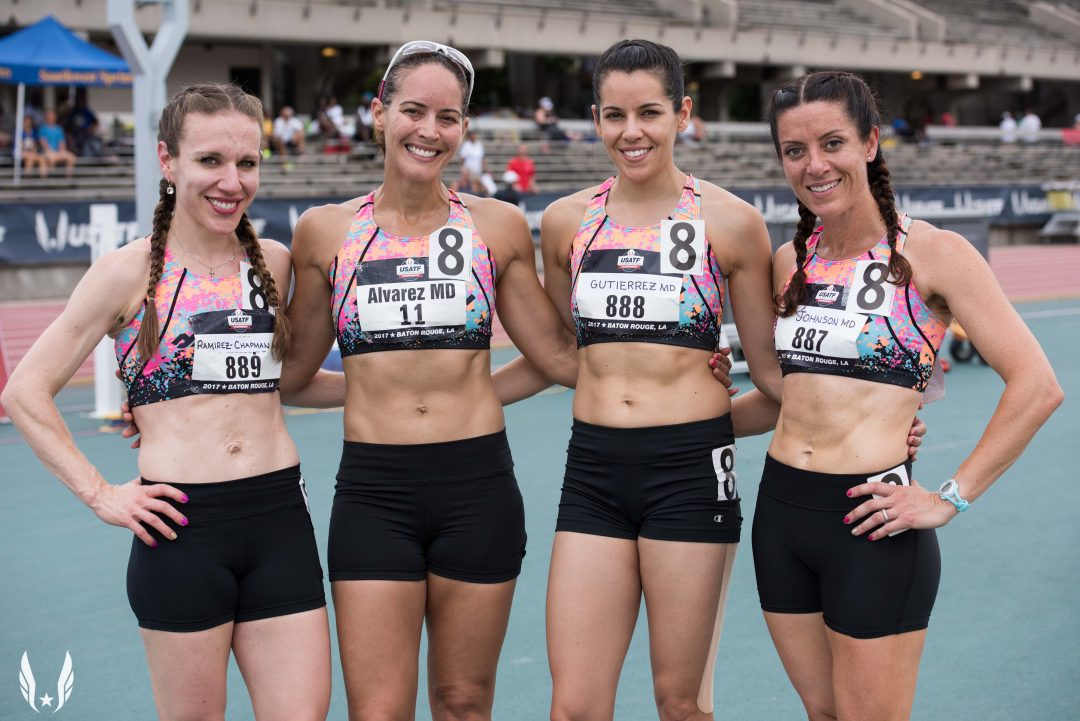 (From left to right) Dr. Ana Lisa Ramirez-Chapman of Houston Anesthesia (and former assistant professor of Anesthesiology at McGovern Medical School), Dr. Aixa Alvarez of San Antonio PM&R, Dr. Monica Verduzco-Gutierrez and Dr. Rhea Johnson of New York Psychiatry enjoyed their time at the 2017 USATF Outdoor Masters Championship in July.