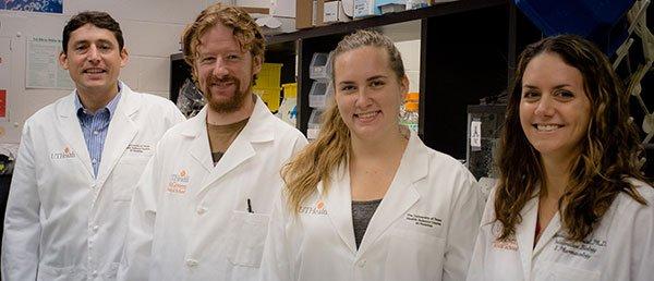 Shedding new light on stem cell differentiation at UTHealth from the left are Ilya Levental, Ph.D.; Joseph Lorent, Ph.D.; Allison D. Skinkle; and Kandice Levental, Ph.D. (PHOTO CREDIT: Maricruz Kwon, UTHealth)