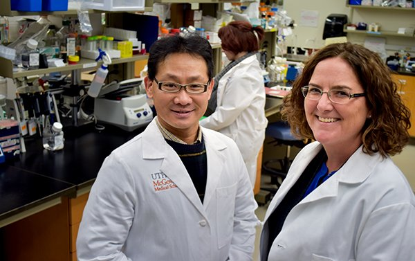 Working on new treatments for stroke at UTHealth are Akihiko Urayama, Ph.D., and Louise McCullough, M.D., Ph.D. PHOTO CREDIT: Maricruz Kwon, UTHealth