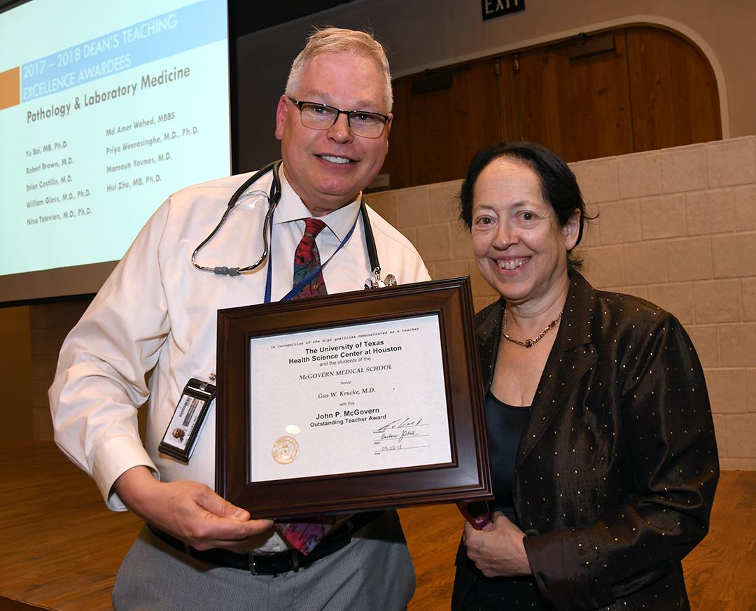 Gus Krucke Outstanding Teacher Award with Dean Stoll