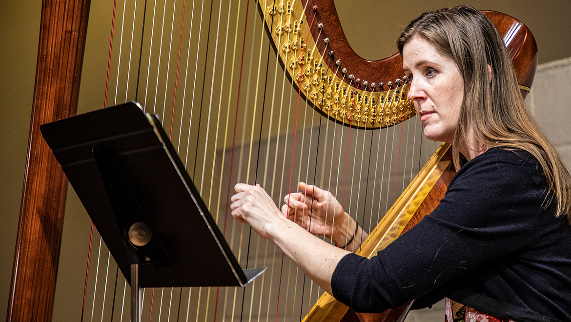 Laurie Meister with harp