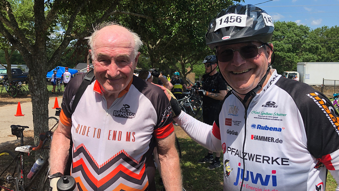 George Stancel and Robert Hunter ride the MS150