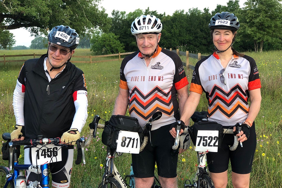 MS150 Bike ride with Drs Robert Hunter and George Stancel and Hunter's daughter, Alice