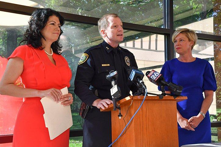 On Sept. 4, at the UTHealth Harris County Psychiatric Center, (from left) Texas Sen. Carol Alvarado, Houston Police Department Assistant Chief J.G. Jones, and Texas Rep. Sarah Davis discuss Texas Senate Bill 20.