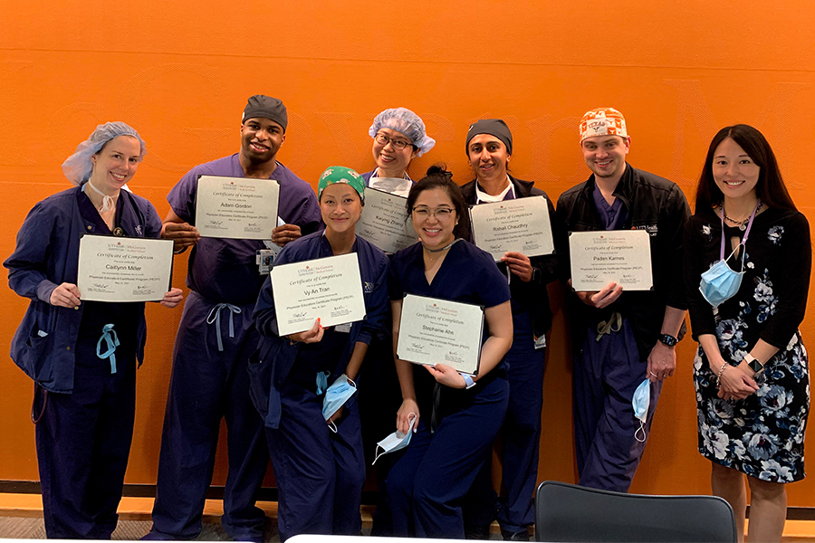 Anesthesiology residents from the cohort of 80 PECP graduates celebrate completion of the program May 19, 2021
