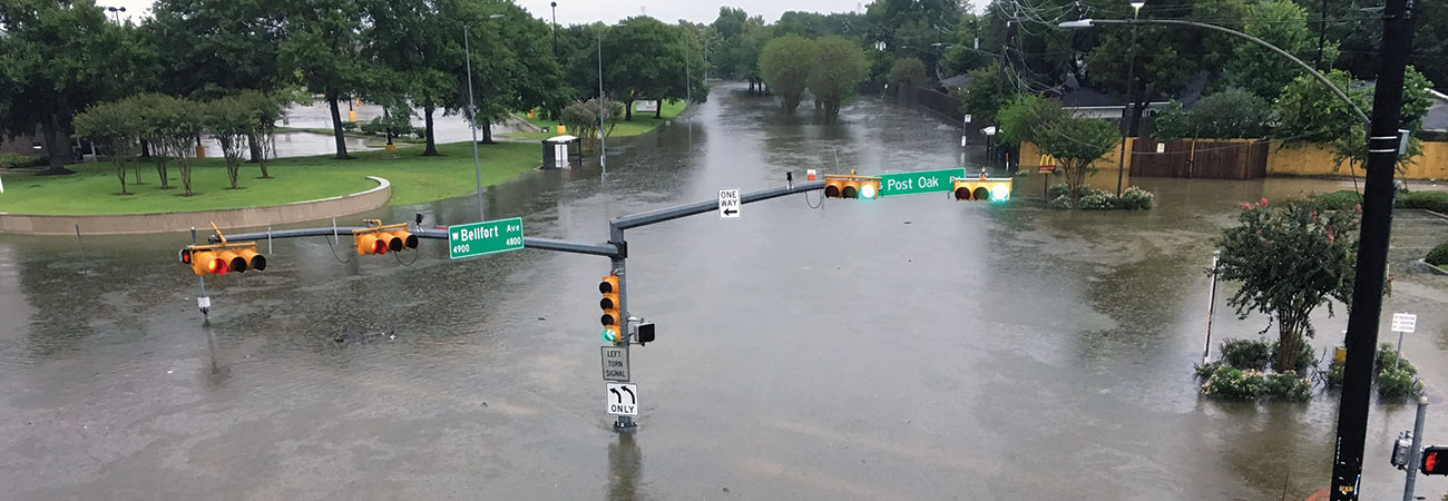 Houston intersection flooded because of Harvey